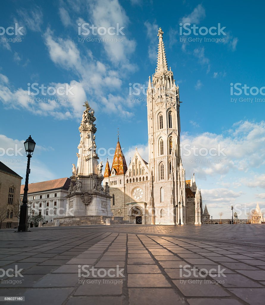Matthias church and Statue of Holy Trinity in Budapest stock photo