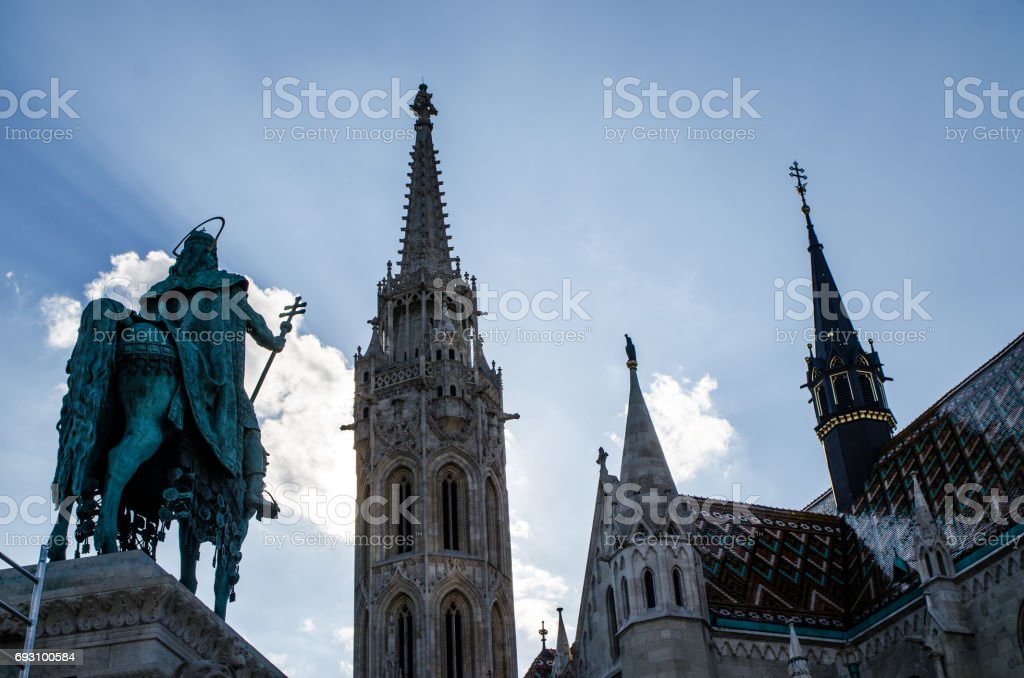 Matthias church and St-Stephen statue from behind stock photo