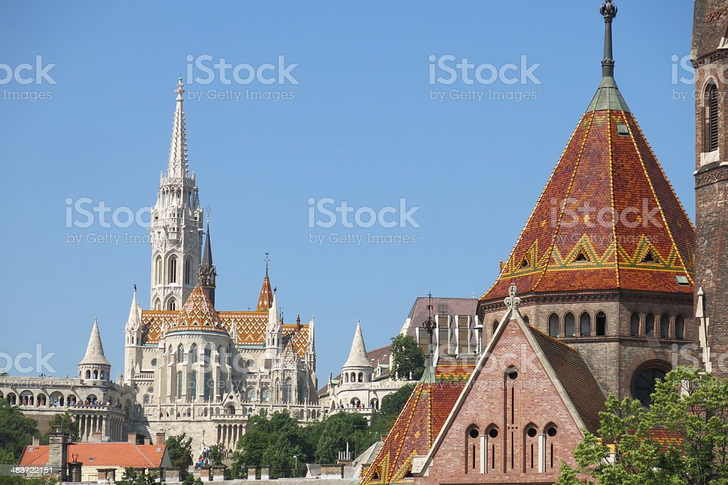 Matthias Church and Szilagyi Dezso Square Church, Budapest stock photo