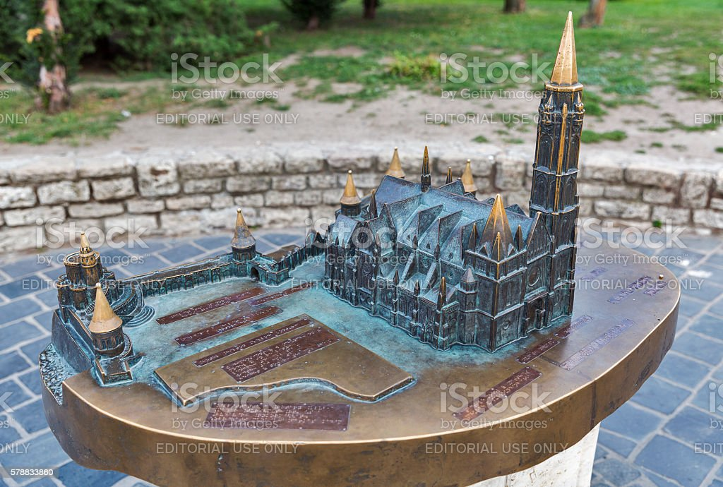 Matthias church compact model in Buda Castle, Budapest, Hungary stock photo