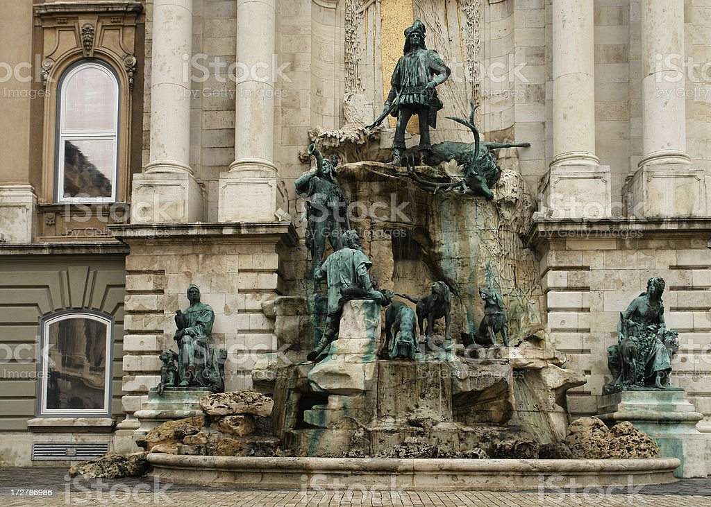 Matthias Fountain at Buda Castle stock photo