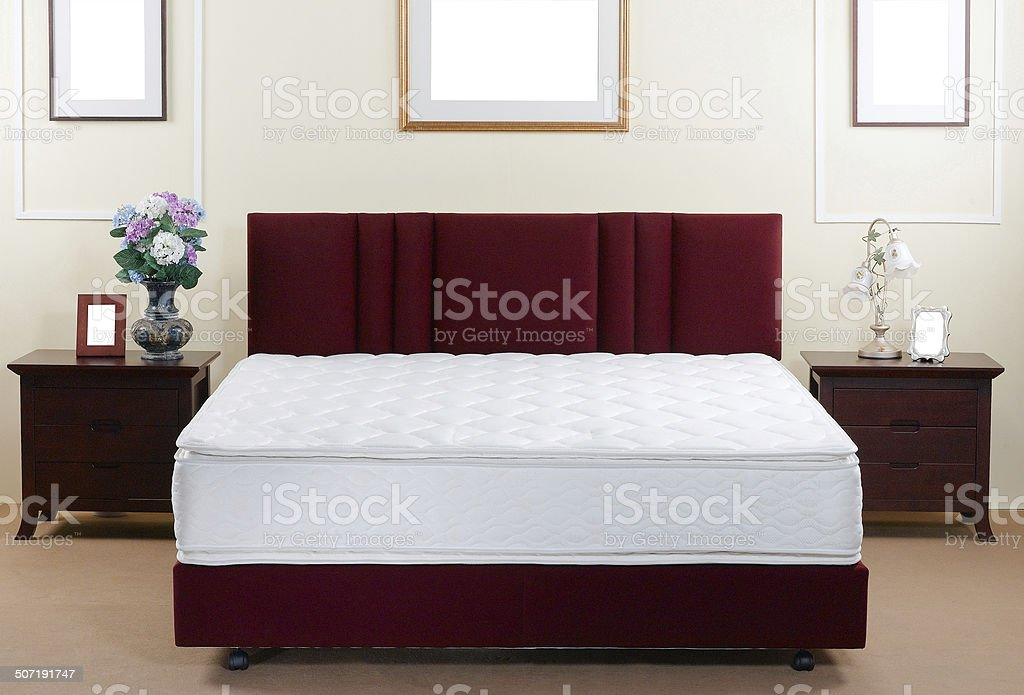 Mattress and bed in the bedroom interior stock photo