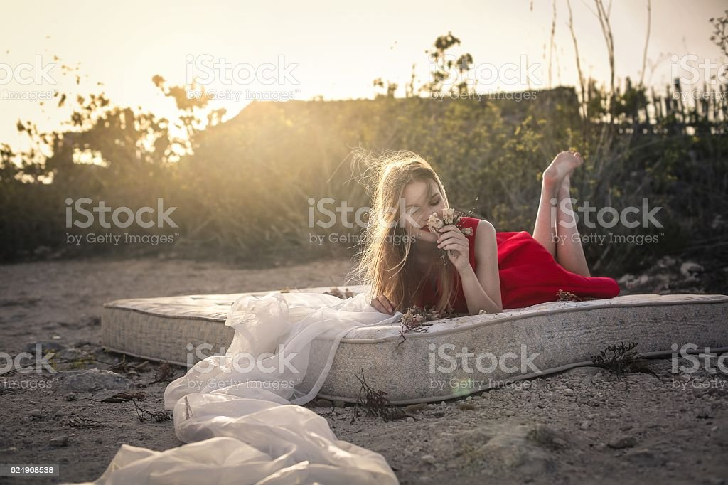 Mattress in the nature stock photo