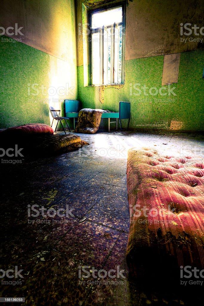 Mattress on the floor royalty-free stock photo