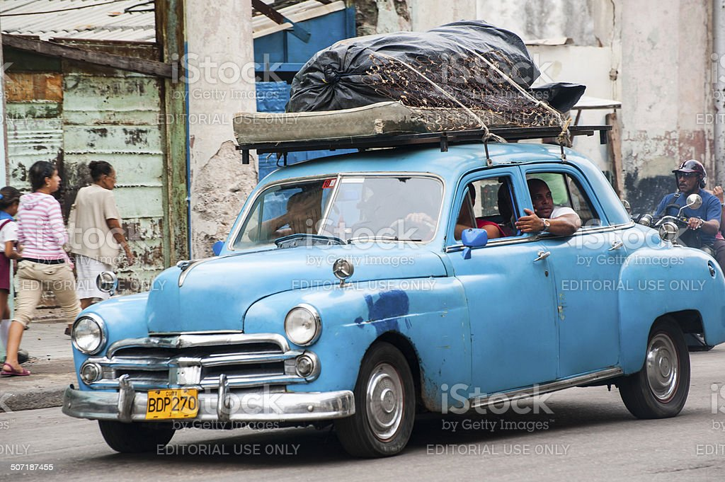 Mattress on top of classic car in Havana, Cuba royalty-free stock photo
