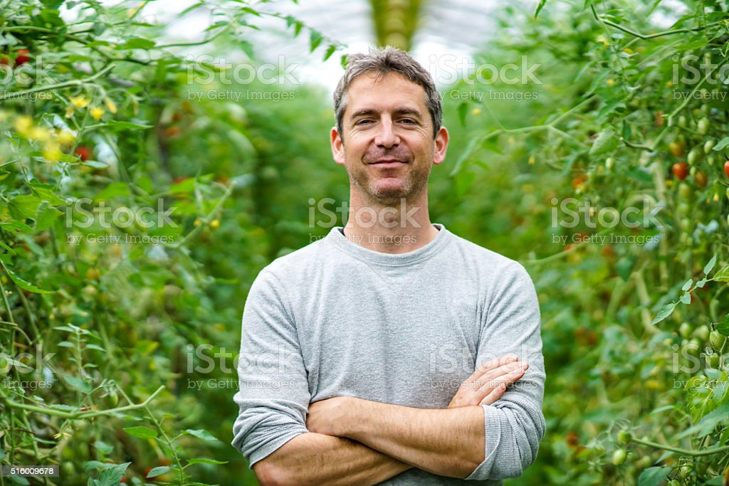 Mature adult entrepreneur standing in his small business greenhouse stock photo