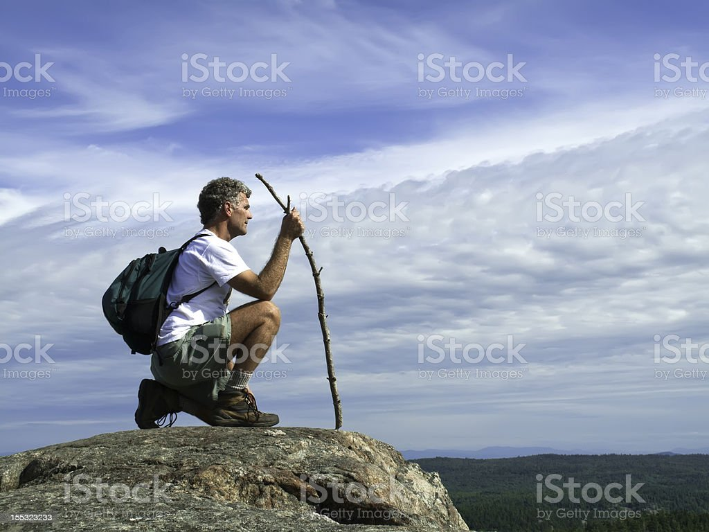 Mature Adult Hiker at Summit royalty-free stock photo