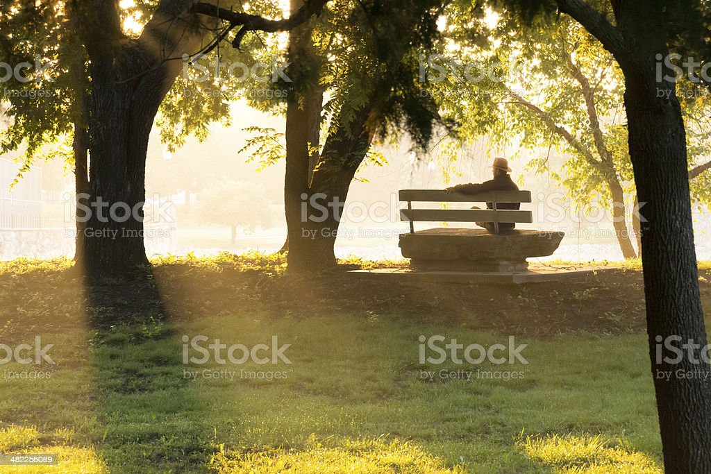 Mature Adult Male Sits Thoughtfully On Park Bench In Fall stock photo