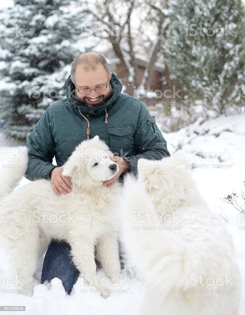 Mature Adult man with a white dog on the nature stock photo