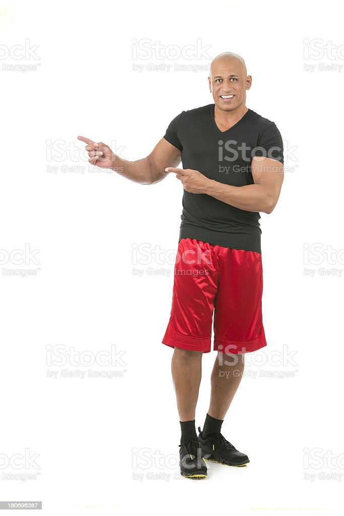 Mature african american man pointing on white royalty-free stock photo