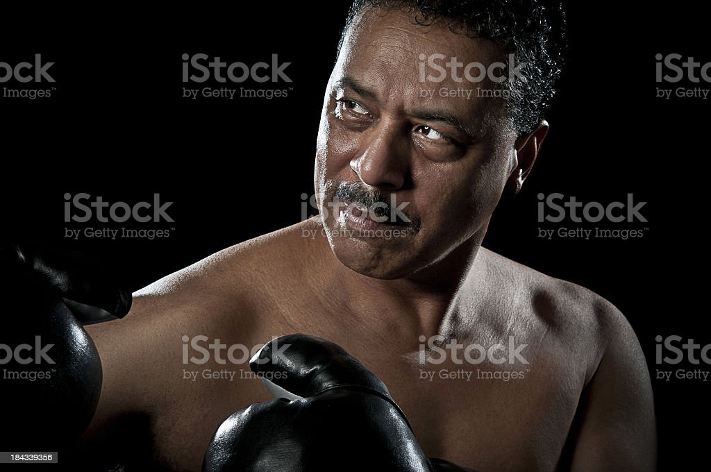 Mature African American  Prize Fighter stock photo