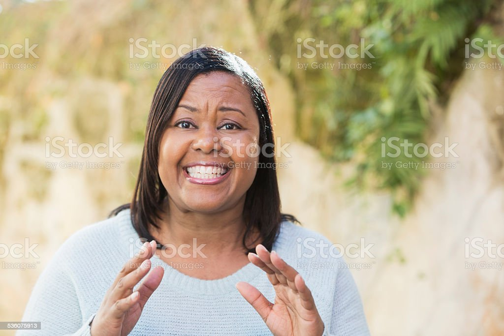 Mature African American woman grinning stock photo