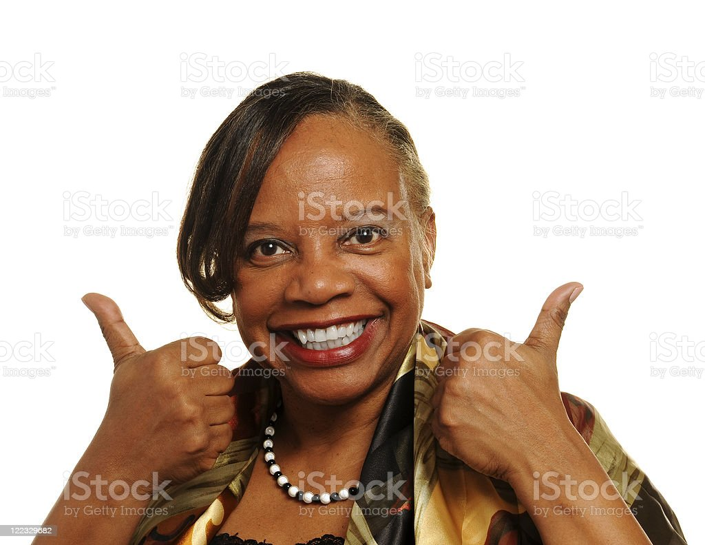 Mature African American Woman Two Thumbs Up Isolated on White royalty-free stock photo