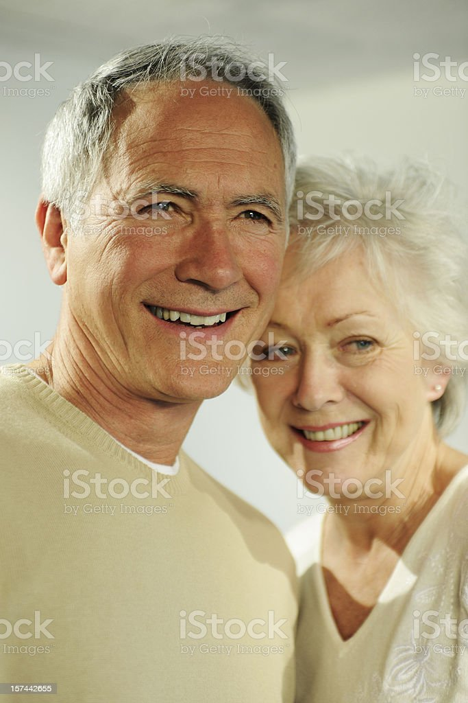 mature and healthy older couple with grey hair royalty-free stock photo