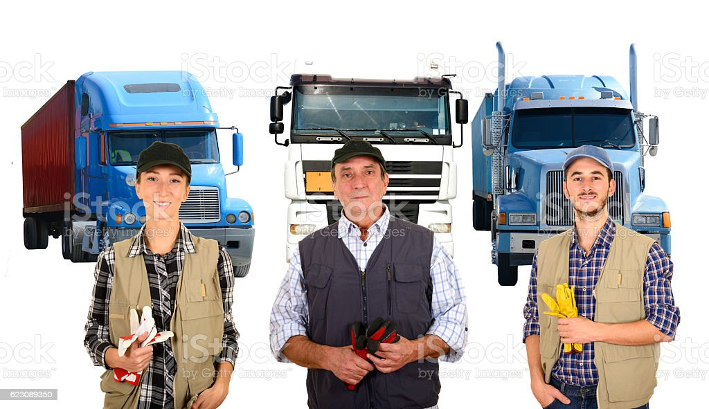 Mature and young truck drivers stock photo
