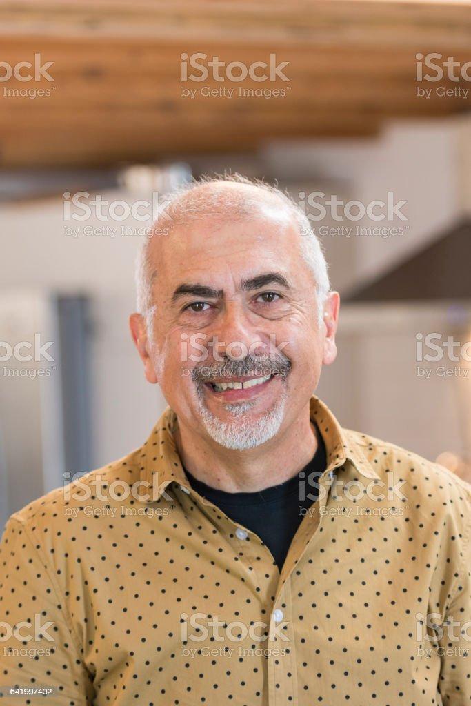 Mature Armenian American man portrait stock photo