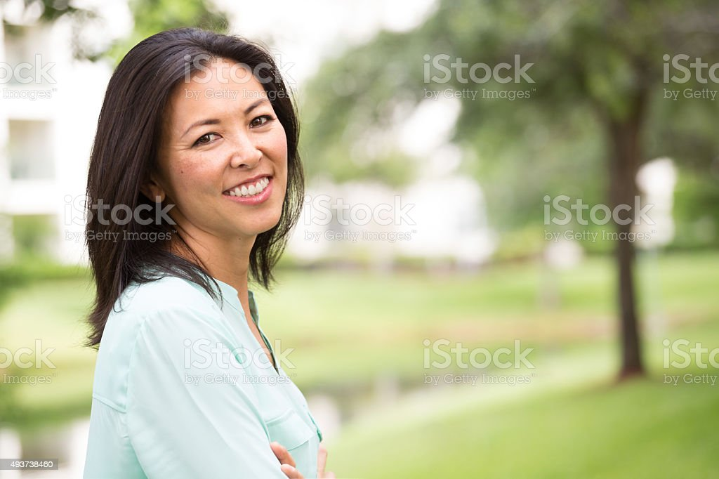 Mature Asian Woman stock photo