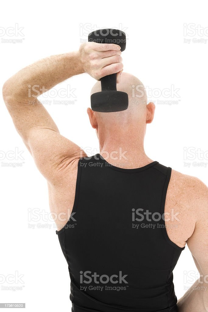 Mature athletic man working out weight shoulder Caucasian bald isolated royalty-free stock photo