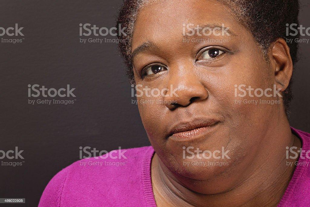Mature black woman close-up stock photo