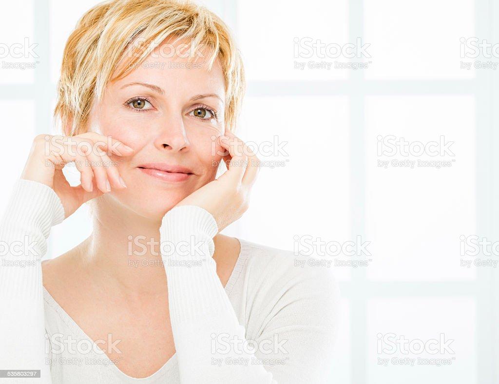 Mature blond woman. stock photo