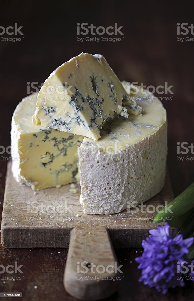Mature Blue Veined Stilton Cheese stock photo