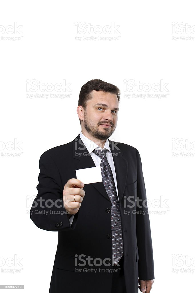 Mature business man handing a blank card royalty-free stock photo