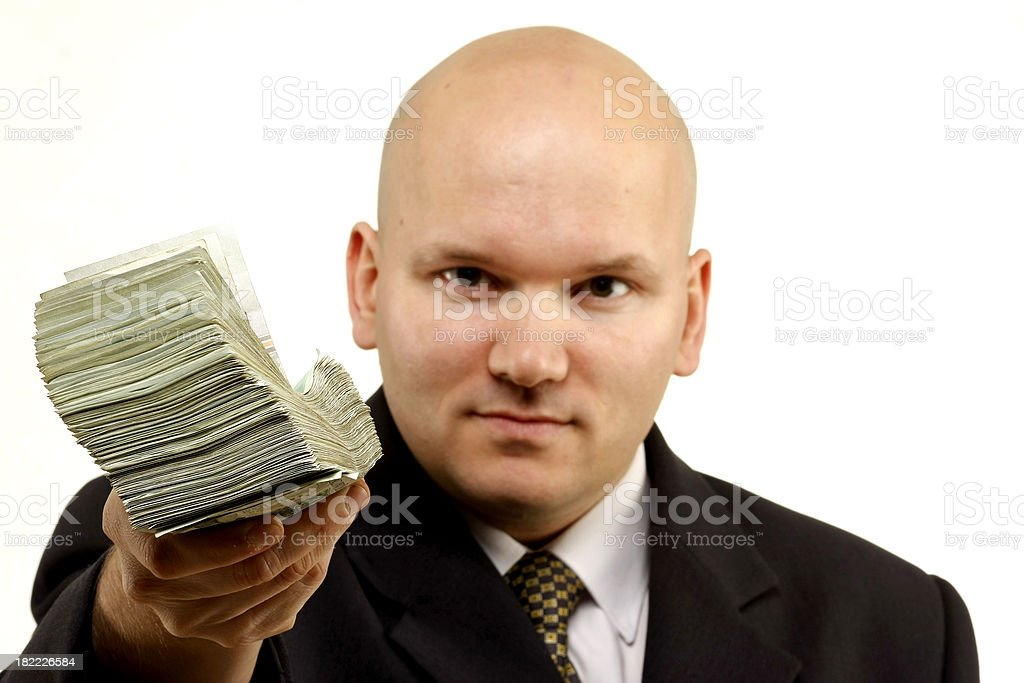 Mature business man holding cash royalty-free stock photo