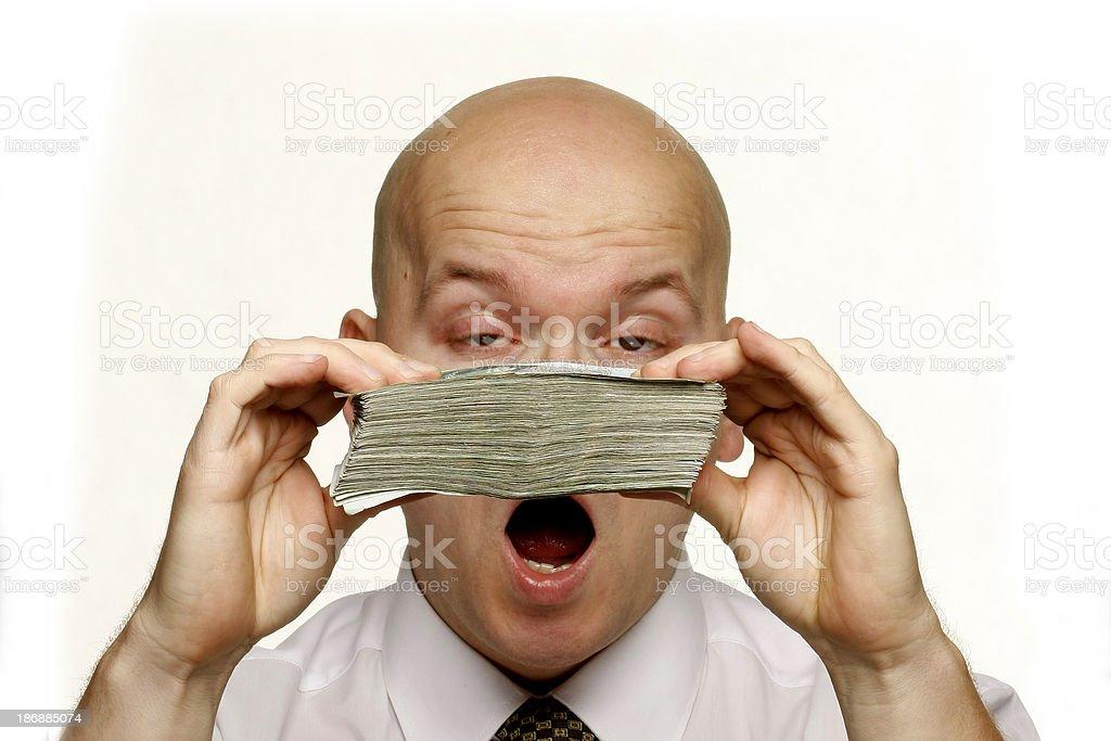 Mature business man holding cash stock photo