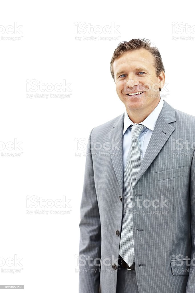 Mature business man isolated over white background royalty-free stock photo