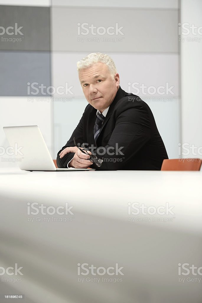Mature business man on laptop royalty-free stock photo