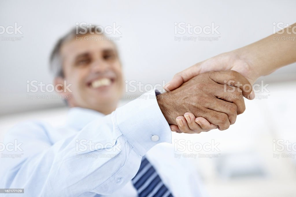 Mature business man shaking hands stock photo