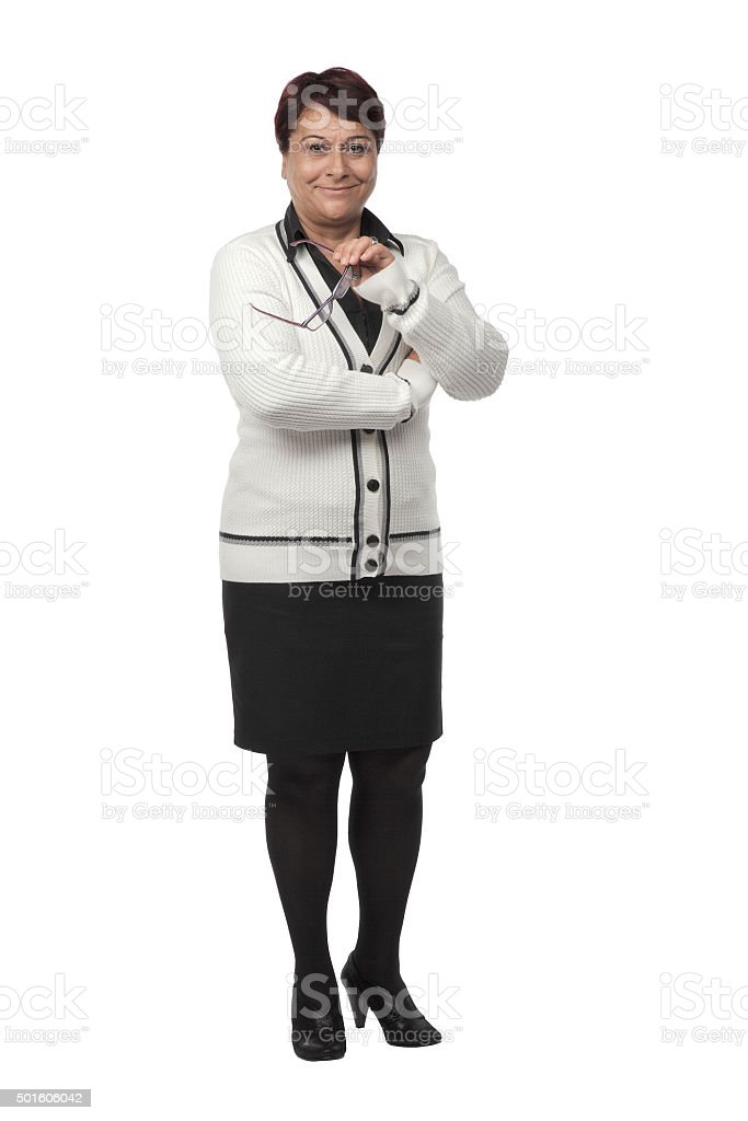 Mature Business woman isolated on white background stock photo