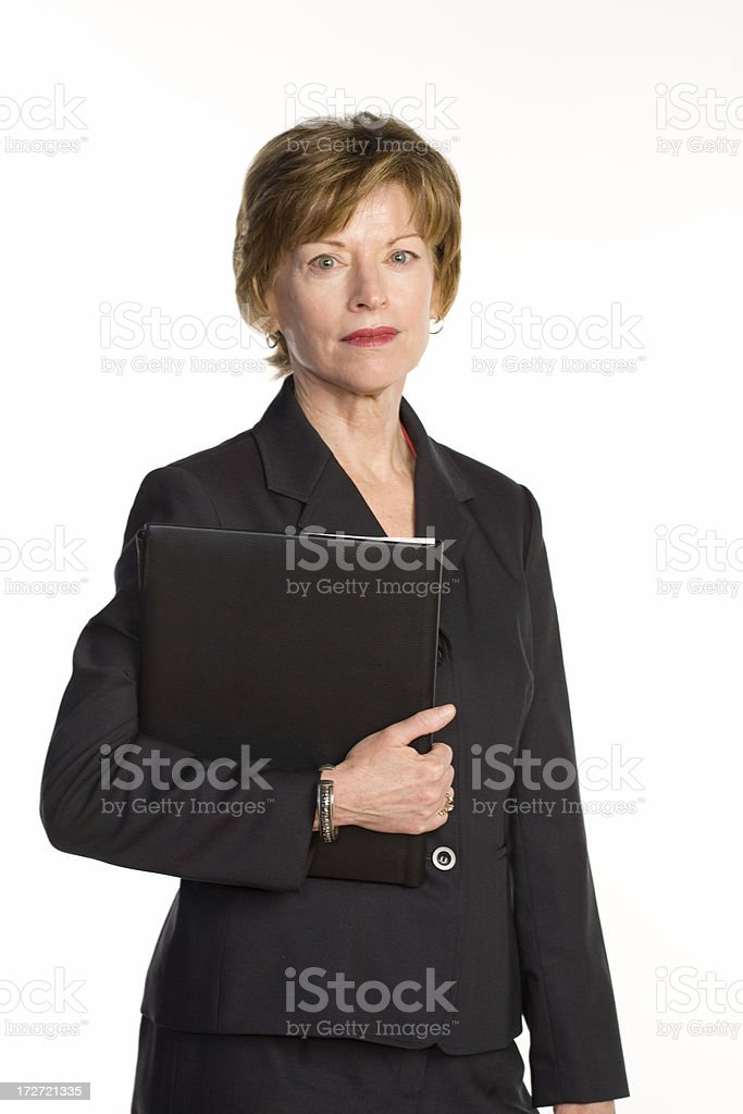 Mature business woman with folder royalty-free stock photo