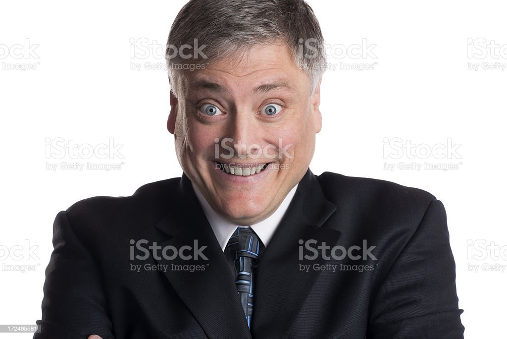 Mature Businessman Acting Suprised or Crazy royalty-free stock photo