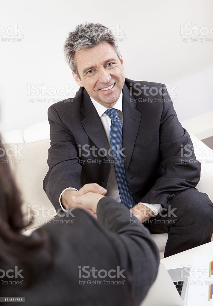 Mature businessman at the interview royalty-free stock photo