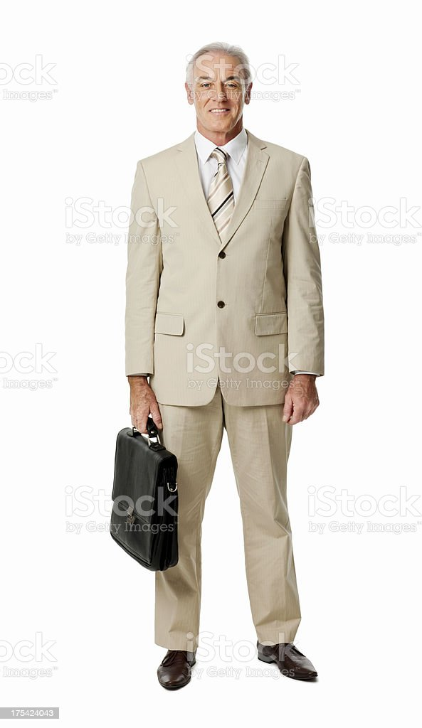 Mature Businessman Carrying Briefcase - Isolated stock photo