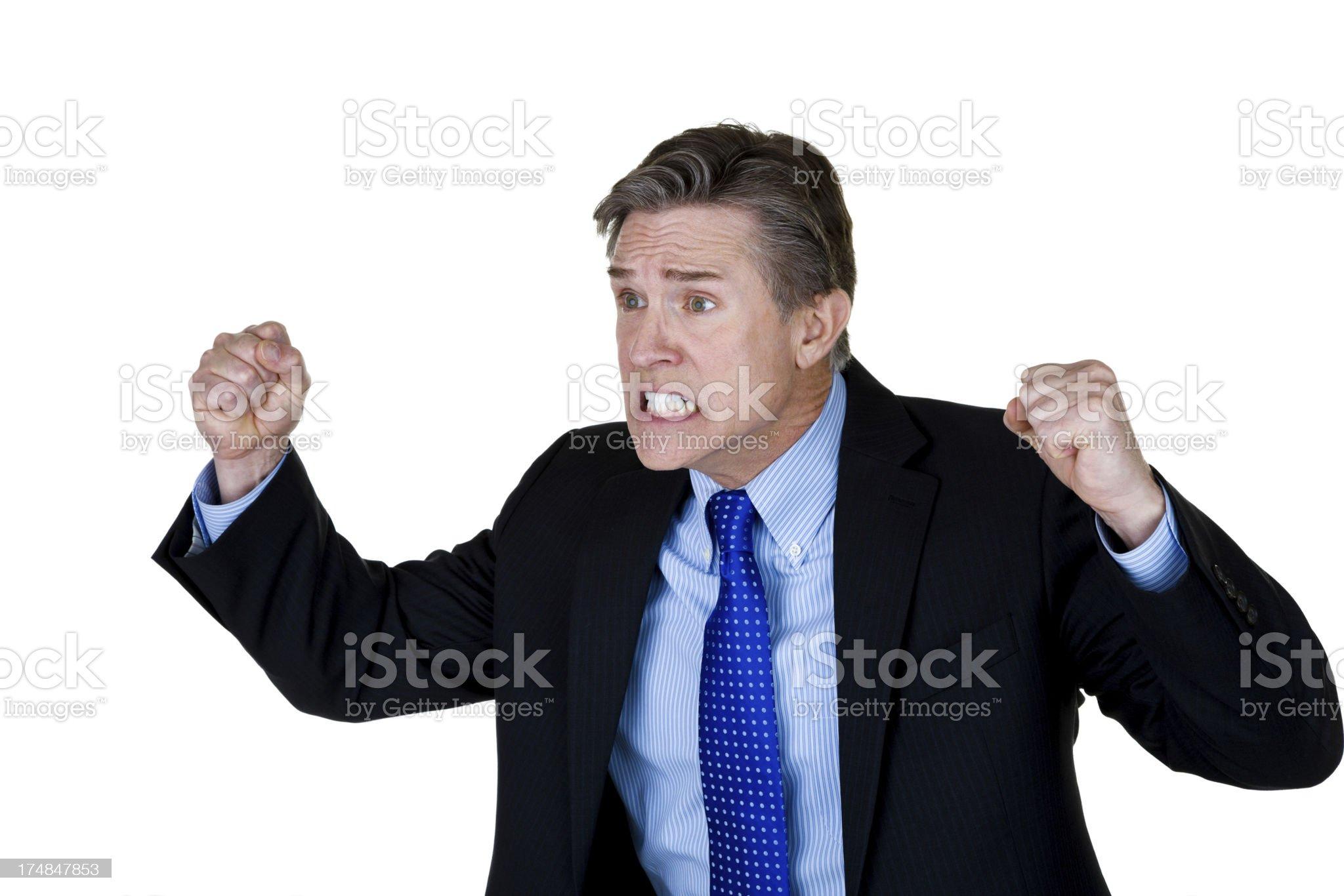 Mature businessman expressing negativity royalty-free stock photo