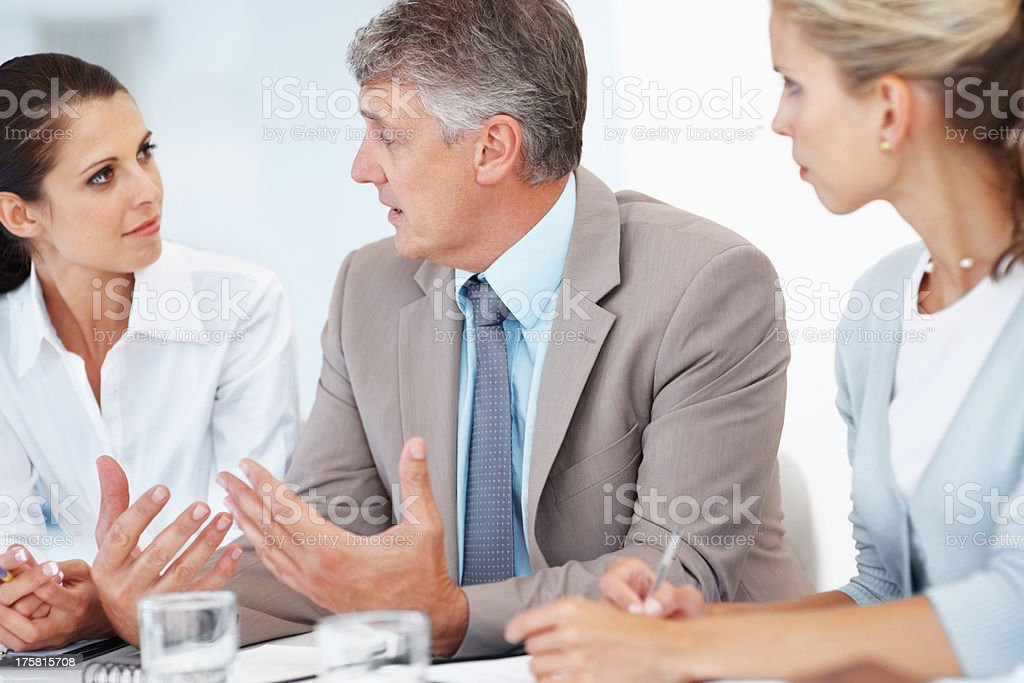Mature businessman guiding his colleagues in a meeting stock photo