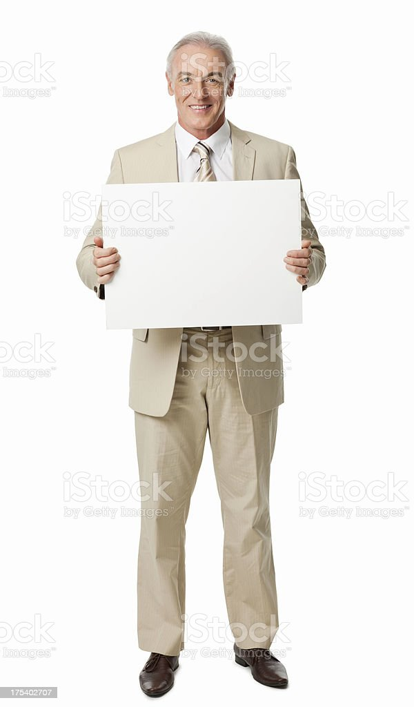 Mature Businessman Holding Blank Sign - Isolated stock photo