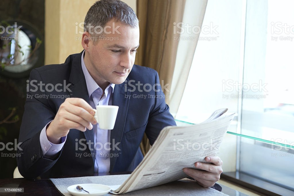 Mature businessman in restaurant. royalty-free stock photo