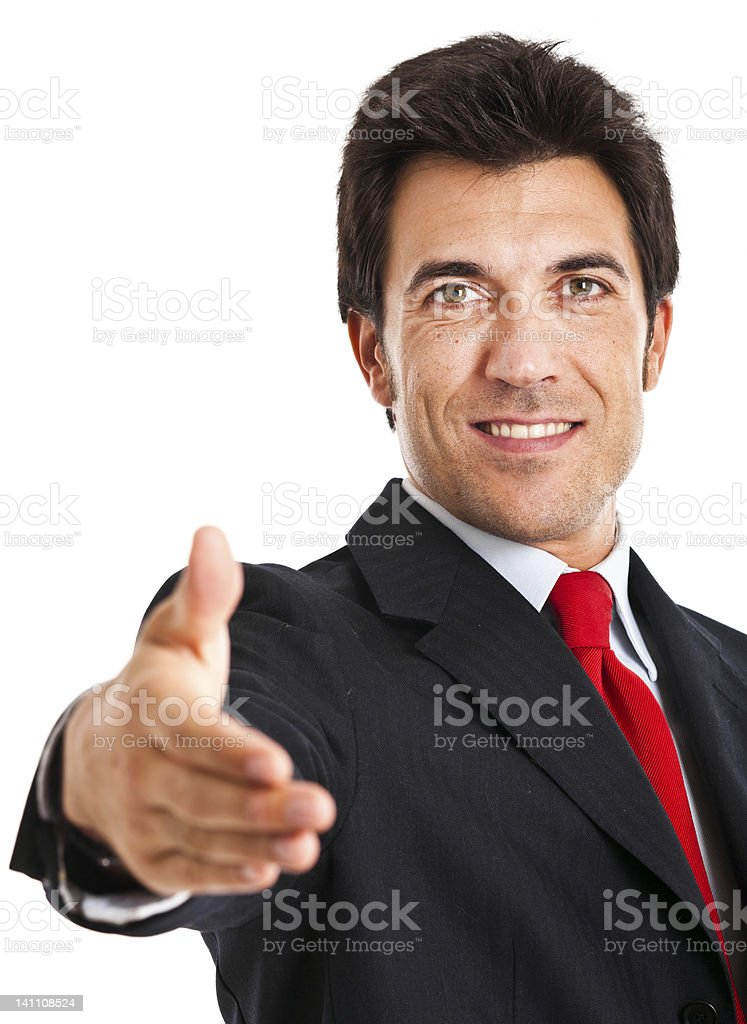 Mature businessman welocomes you aboard stock photo