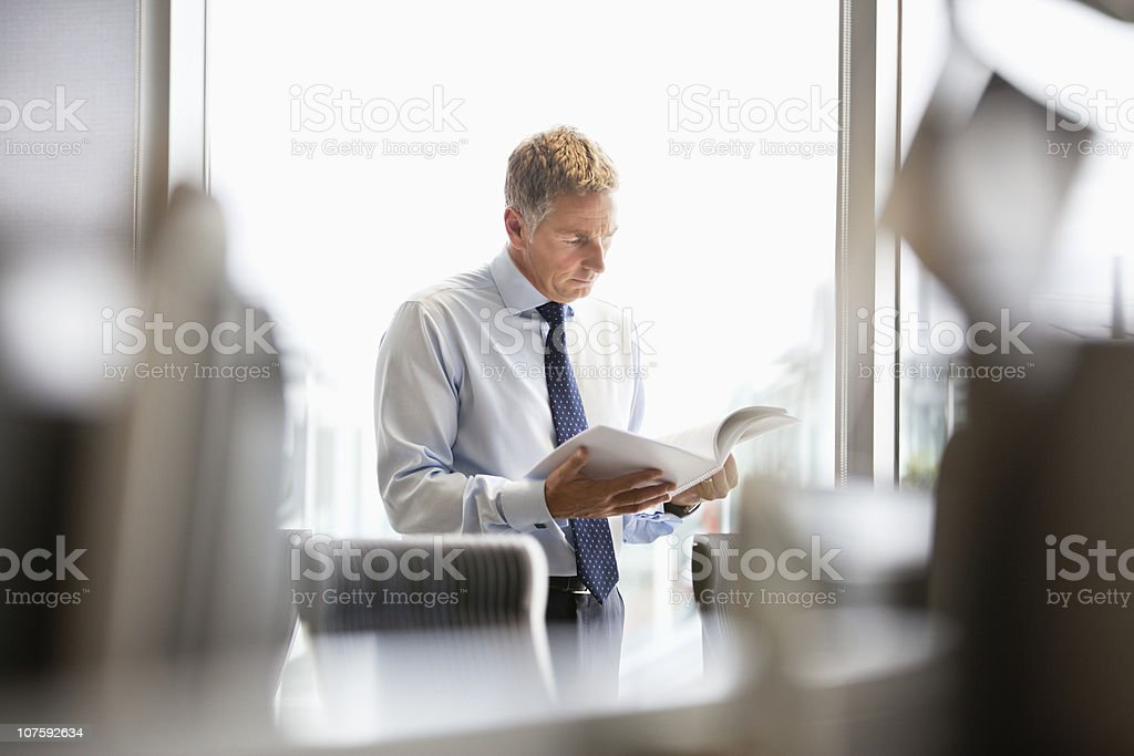 Mature businessman with document at office stock photo