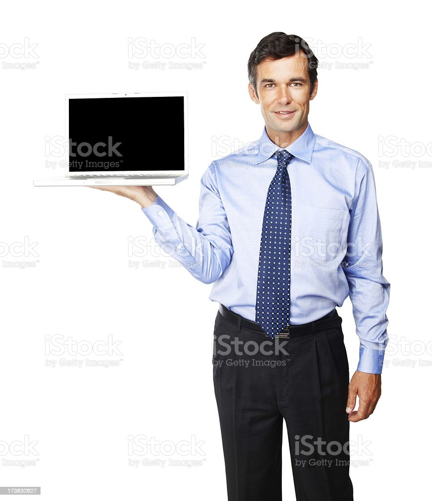 Mature businessman with laptop royalty-free stock photo
