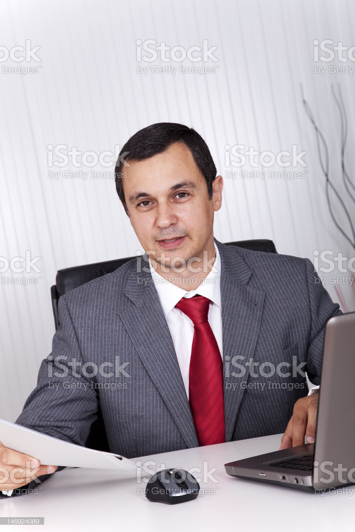 Mature businessman working at the office royalty-free stock photo