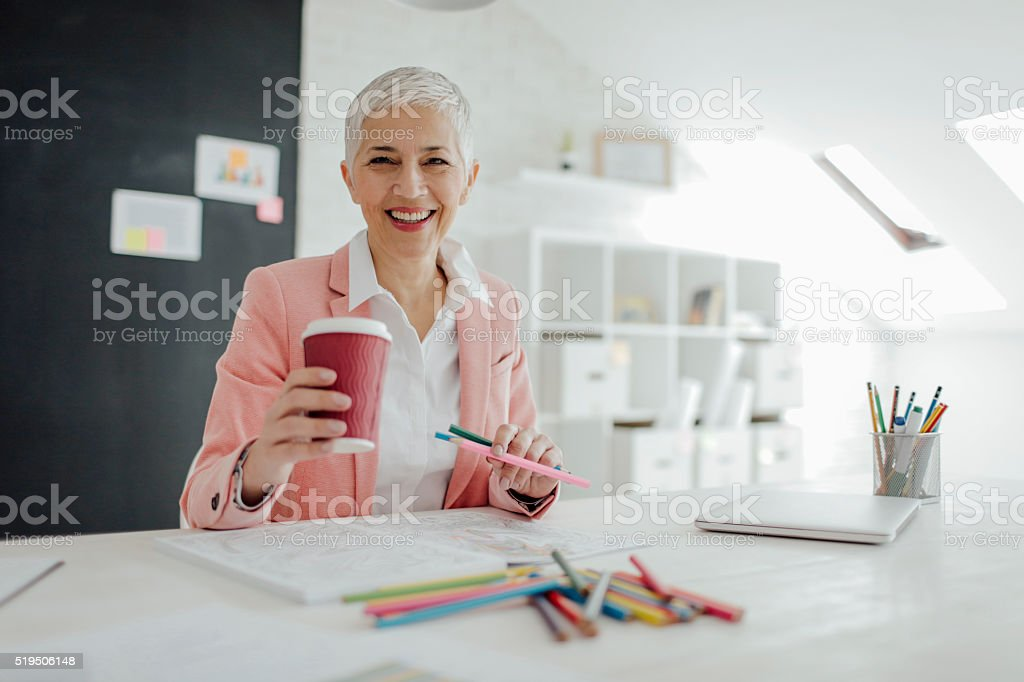 Mature Businesswoman Coloring Book stock photo