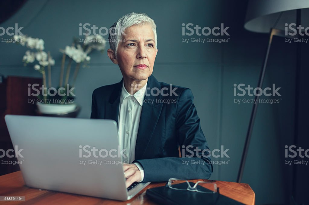 Mature Businesswoman Portrait In Her Office. stock photo