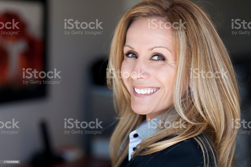 Mature Businesswoman Working At Home stock photo