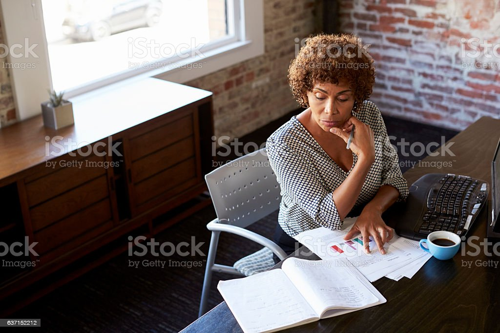 Mature Businesswoman Working In Office stock photo