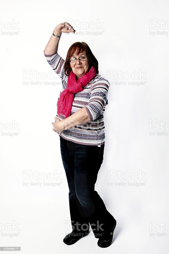 Mature caucasian woman hamming it up stock photo