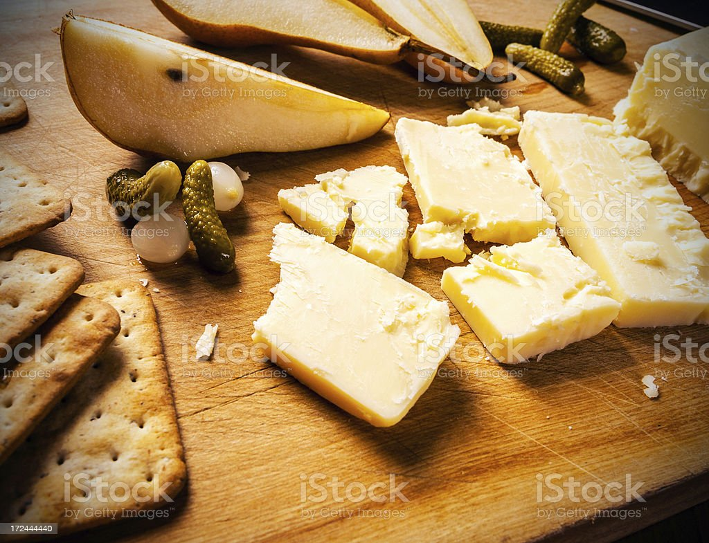 Mature cheddar and pears royalty-free stock photo